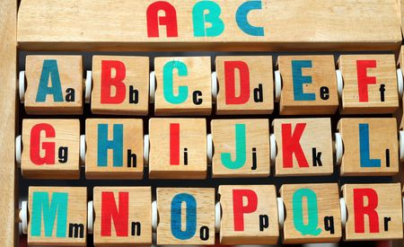 educational institution: alphabet on a wood game
