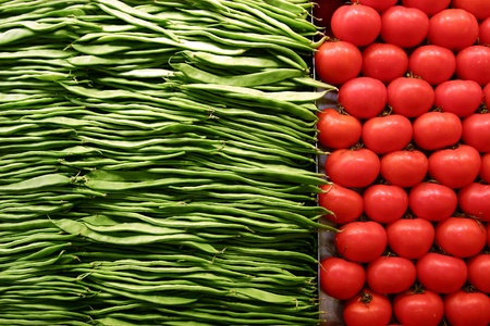 greenbeans: fruit and vegetables on a market in barcelona