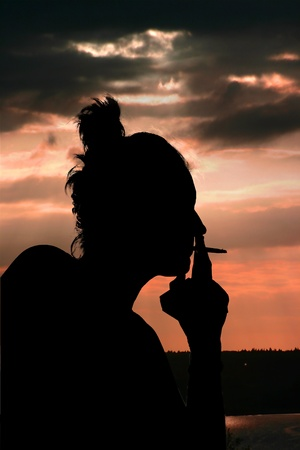 woman smoking photo