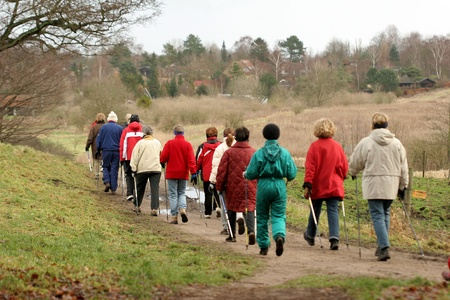 scandinavian people: group of people on a forest path Stock Photo
