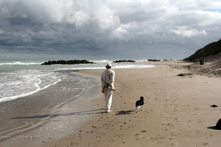 summer in denmark:beach of loekken, people on the beach photo
