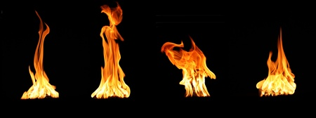 flame burning (4 pictures of the same item  put together) Stock Photo - 9585847