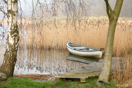 Boats on a lake in denmark Stock Photo