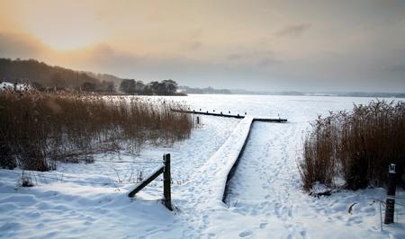 デンマーク、凍った湖の冬景色デンマークの冬の湖 写真素材