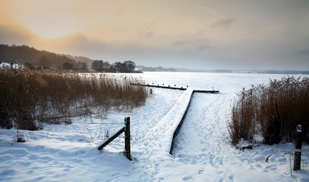 paysages d'hiver au Danemark, un lac gelé d'un lac au Danemark en hiver