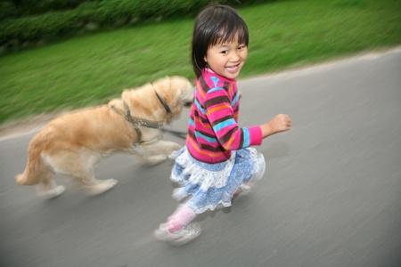 gladden: child with dog