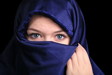 veiled: Portait of  a cute blond scandinavian teenager girl with niqab