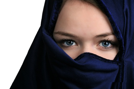 niqab: Portait of  a cute blond scandinavian teenager girl with niqab