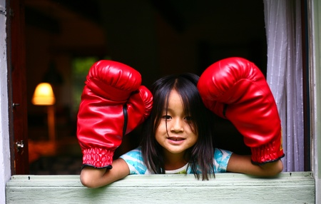 pugilist: girl with boxing gloves Stock Photo