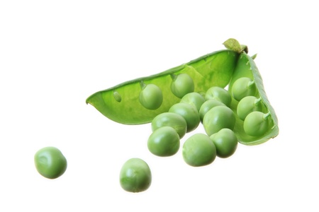 isoladed: several peas isoladed on white background Stock Photo