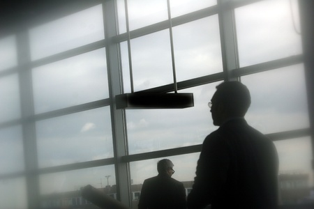 buiseness: passenger in the frankfurt airport. Shot with cookin diffusion filter Stock Photo