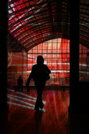 buiseness: the train station of anvers in belgium, people silhouettes Stock Photo