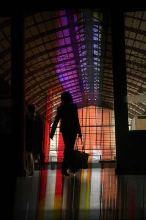 buisiness: the train station of anvers in belgium, people silhouettes Stock Photo