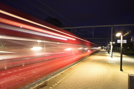 Train station at night in Denmark