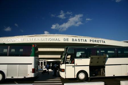 busses: Airport in Bastia Corsica Editorial