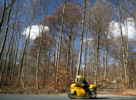 autumn in the countryside  in denmark and motorcycle photo