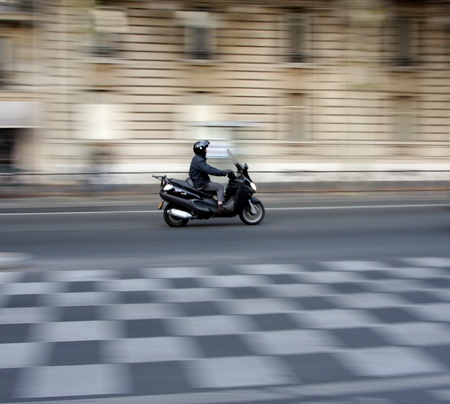 traffic in paris shot  with low shutter speed (panning) photo