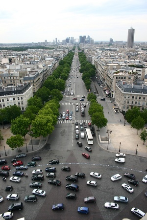 triomphe: Urban traffic in Paris view from the arc de triomphe Stock Photo