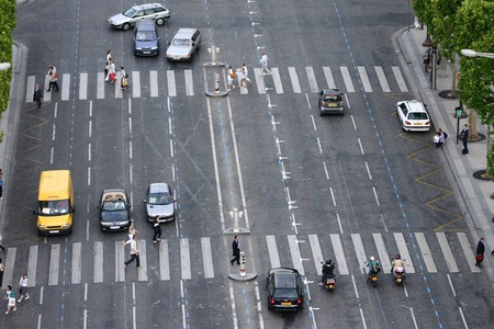 Urban traffic in Paris view from the arc de triomphe photo