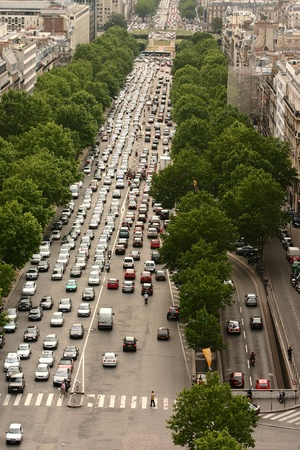 gridlock: paris: view from the top of the arc de triomphe Stock Photo