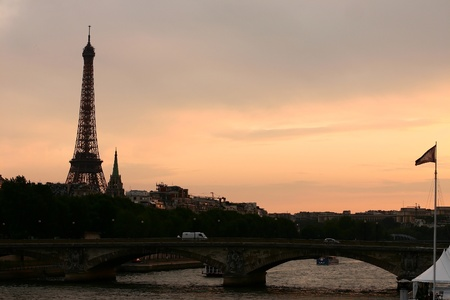 sunset from a parisian bridge photo