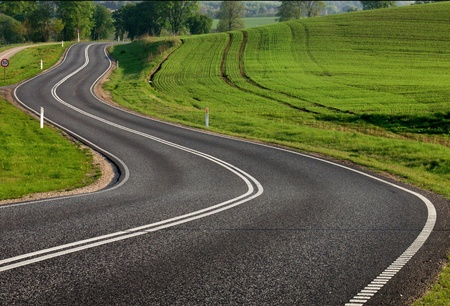 curve road: rural road in the country side Stock Photo