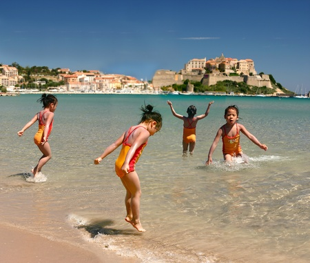 People at the beach in Corsica france