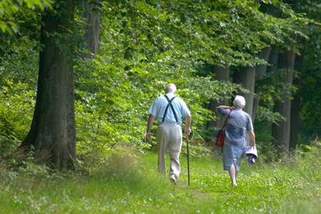 Two old persons  couple  in a forest path photo
