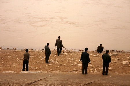 people in lanzhou china at the yellow river