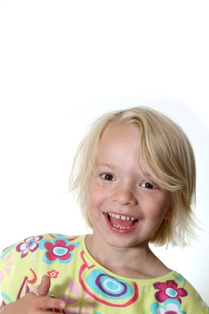 close up of child  head having fun and smilling