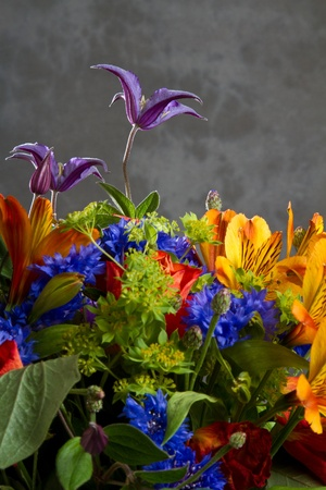 Huge flower bouquet on grey  background Stock Photo - 13124815