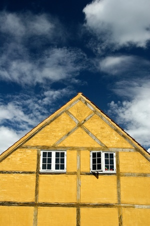 timbered: half timbered traditional house   in denmark a sunny summer day
