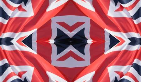 symbolization: uk flag in the wind , made with 4 time the same picture