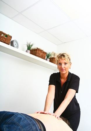 Massage in denmark in a chiropractise clinic (real situation) Stock Photo