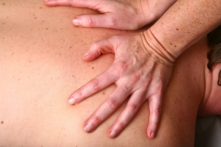 Massage in denmark in a chiropractise clinic (real situation) photo