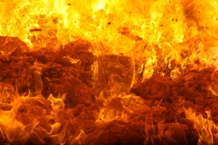 Combustion of waste in a furnace Stock Photo