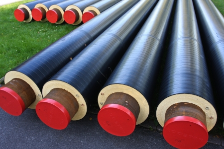 Pipes used for district heating Stock Photo