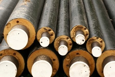powerplants: pipes used for district heating Stock Photo