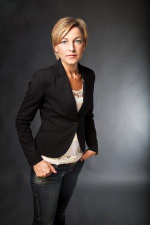 scandinavian people: Woman standing shot in studio Stock Photo