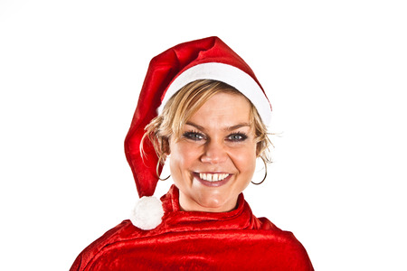 blond girl: Cute blond girl with christmas hat Stock Photo
