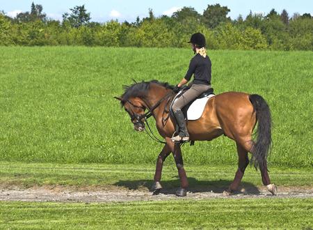 Fille monté sur un cheval dans un paysage verdoyant