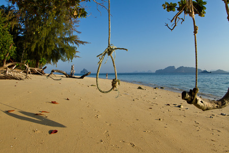 rudimentary: Rudimentary swing at the beach in thailand during the summer Stock Photo