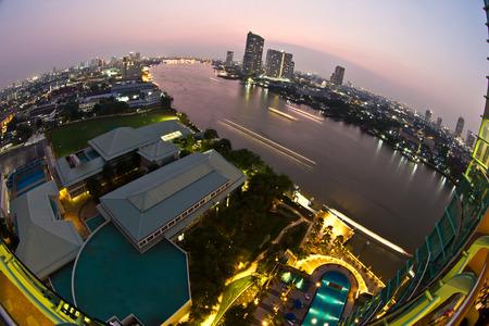 phraya: View at night in the Chao Phraya river in Bangkok Thailand in the Yan Nawa area