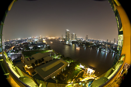 chao phraya: View at night in the Chao Phraya river in Bangkok Thailand in the Yan Nawa area