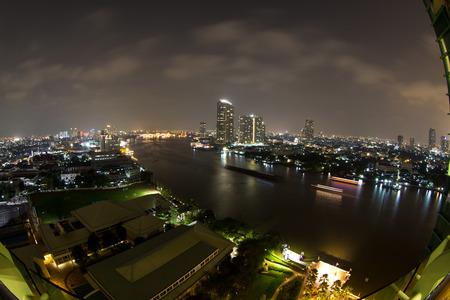 chao phraya river: View at night in the Chao Phraya river in Bangkok Thailand in the Yan Nawa area