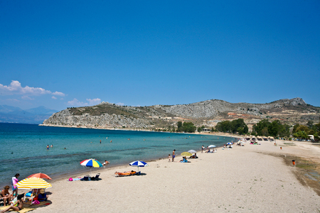 mediteranean: People at the beach in the  Peloponese in greece