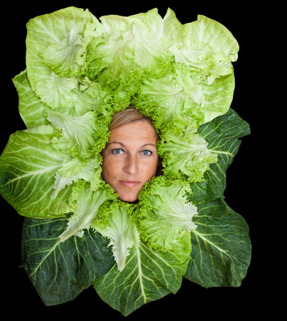 leaf vegetable: Cute woman with salad leaves arranged around her head.  Can be used for healthy food concept