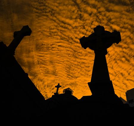 neighbourhood: Crosses of La Recoleta Cemetery in the Recoleta neighbourhood of Buenos Aires, Argentina.