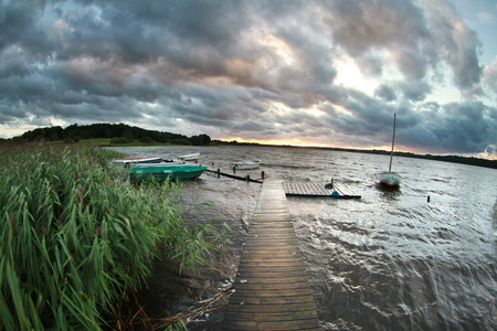 Lake in  denmark with cloudy sky Stok Fotoğraf
