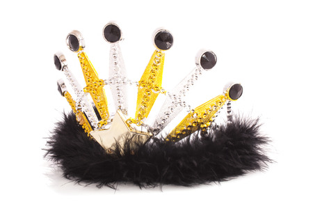 Fluffy crown with silver gold and black isolated over white Stock Photo